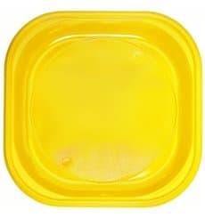 Prato Plastico PS Quadrado Raso Amarelo 200x200mm (30 Unidades)