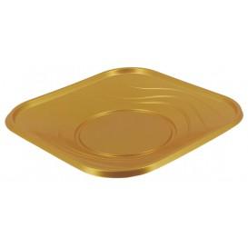 Prato Plastico Quadrado Raso Ouro PP 180mm (8 Unidades)