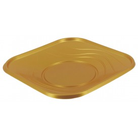 Prato Plastico Quadrado Raso Ouro PP 230mm (8 Unidades)