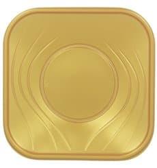 "Prato Plastico ""X-Table"" Quadrado Raso Ouro 230mm (120 Unidades)"