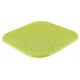 """Prato Plastico PP """"X-Table"""" Quadrado Raso Limão 230mm (8 Unidades)"""