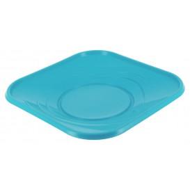 """Prato Plastico PP """"X-Table"""" Quadrado Raso Turquesa 230mm (8 Unidades)"""