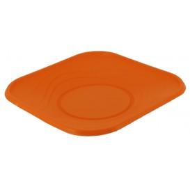 """Prato Plastico PP """"X-Table"""" Quadrado Raso Laranja 230mm (8 Unidades)"""
