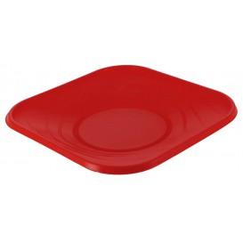"Prato Plastico PP ""X-Table"" Quadrado Raso Vermelho 180mm (8 Unidades)"