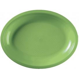 Bandeja de Plastico Oval Verde Limão Round PP 315x220mm (25 Uds)