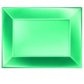 Bandeja de Plastico Verde Nice Pearl PP 345x230mm (60 Uds)