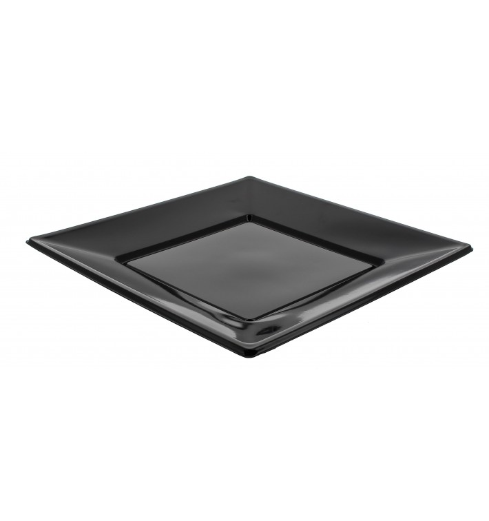 Prato Plastico Raso Quadrado Preto 230mm (750 Uds)
