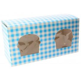 Caixa 2 Cupcakes Azul 19,5x10x7,5cm (20 Unidades)