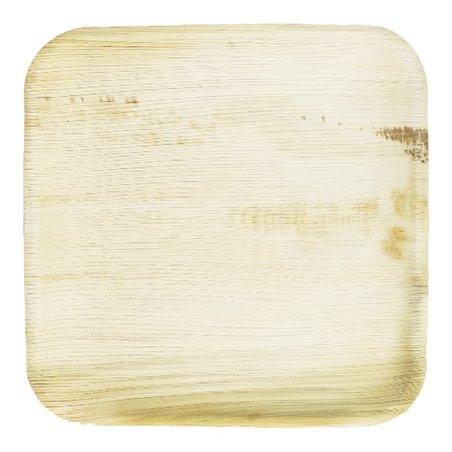 Prato quadrado mini de folha de palmeira 7,7x7,7cm (25 Unidades)