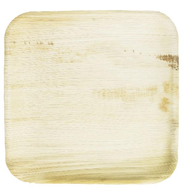 Prato quadrado mini de folha de palmeira 7,7x7,7cm (200 Unidades)