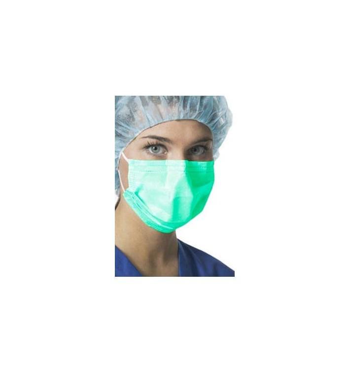 Máscara Retangular Verde de Tripla Dobras com Elástico (50 Uds)