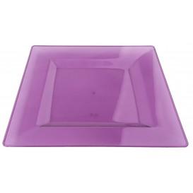 Prato Plastico Rigido Quadrado Berinjela 20x20cm (4 Uds)