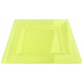 Prato Plastico Rigido Quadrado Verde 20x20cm (4 Uds)