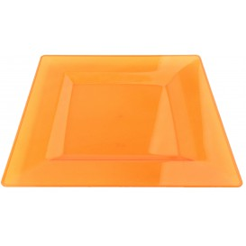 Prato Plastico Rigido Quadrado Laranja 20x20cm (4 Uds)