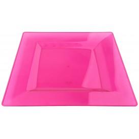 Prato Plastico Rigido Quadrado Framboesa 20x20cm (88 Uds)