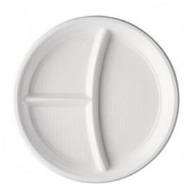 Prato Plastico PS 3 Compar. Branco 220mm (100 Unidades)