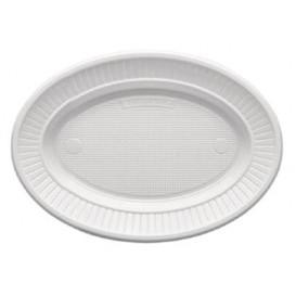 Prato Plastico PS Oval Raso Branco (100 Unidades)