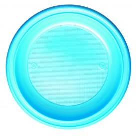 Prato Plastico PS Fundo Azul Claro Ø220mm (30 Unidades)