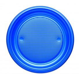 Prato Plastico PS Raso Azul Escuro Ø170mm (50 Unidades)