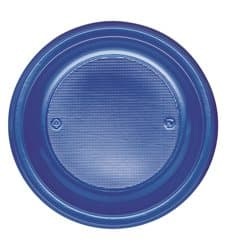 Prato Plastico Raso PS Azul Escuro 220 mm (30 Unidades)