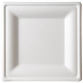 Prato Quadrado Bio da cana-de-açúcar Branco 16x16cm (50 Uds)