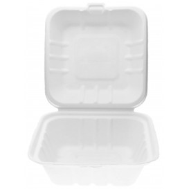 Embalagem Cana-de-açúcar Branco 150x150x80mmm (50 Uds)