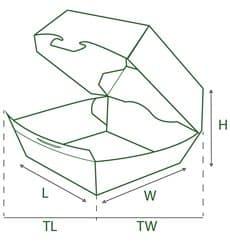Caixa de Cartão Hamburguer XXL 14,5x14,5x8 cm (25 Uds)