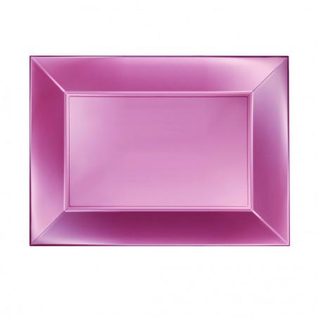 Bandeja de Plastico Rosa Nice Pearl PP 280x190mm (12 Uds)