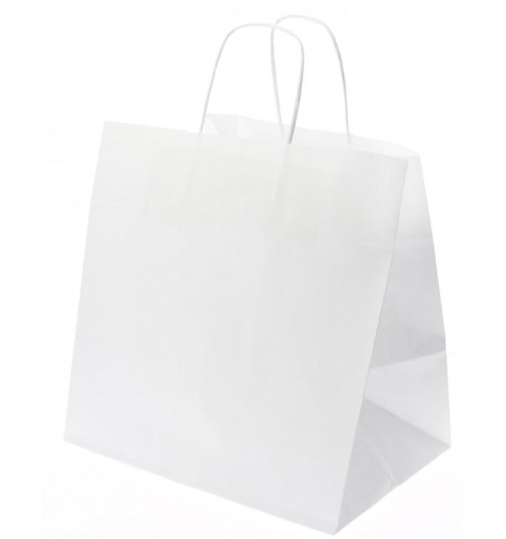 Bolsa Papel Kraft Branco con Asas 80g 26+20x27cm (50 Uds)