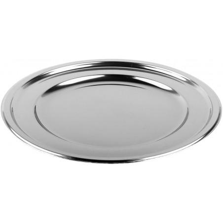 BaixoPrato Plastico Luxo Redondo Prata 30 cm (50 Uds)