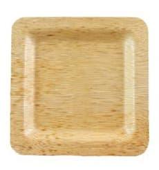 Prato Quadrado de Bambu 15x15x1cm (10 Uds)
