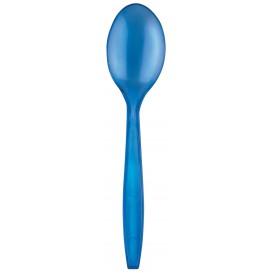 Colher de Plástico PS Premium Azul 190mm (50 Uds)