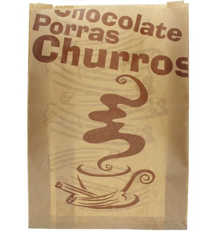 "Saco de Papel ""Chocolat"" Churros 30+9x42cm (1000 Uds)"