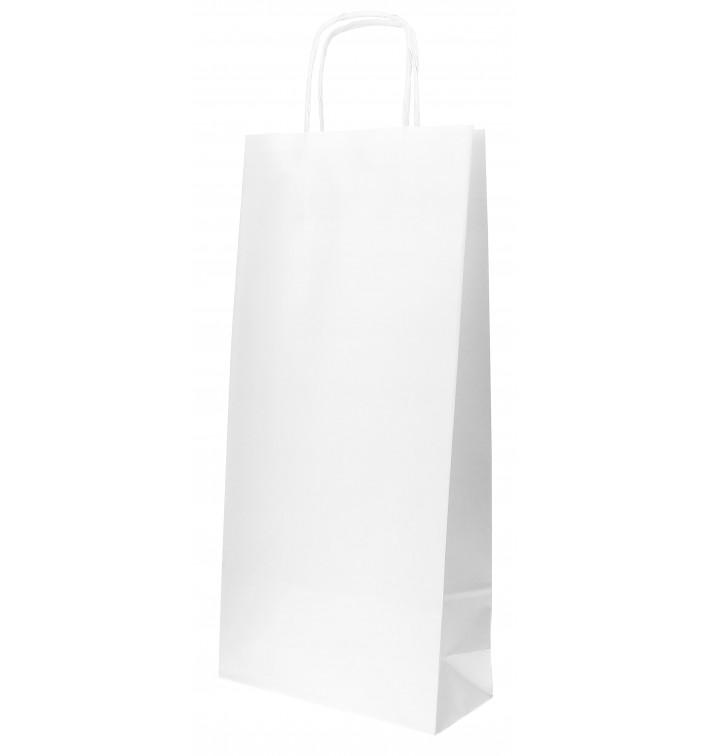 Saco Papel Branco porta Garrafas 18+8x39cm (50 Uds)
