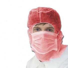 Touca Integral com Máscara 3 Capas Vermelho (100 Uds)