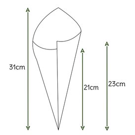 Cone de Papel Kraft 295mm 250g (200 Uds)