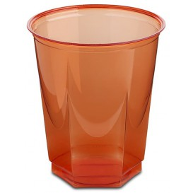 Copo Plastico Hexagonal PS Cristal Vermelho 250ml (10 Uds)