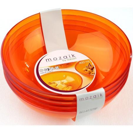 Tigela de Plastico Laranja 400ml Ø 14 cm (4 Uds)