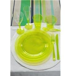 Prato Plastico Rigido Redondo Verde 26cm (6 Uds)