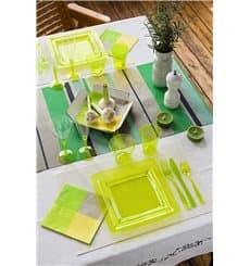 Prato Plástico Rigido Quadrado Verde 22,5x22,5cm (6 Uds)