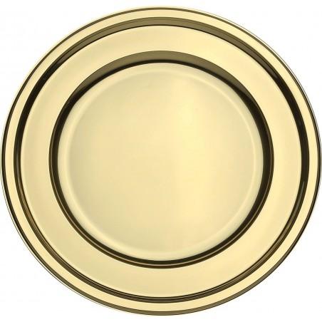 BaixoPrato Plastico Redondo Ouro 30 cm (50 Uds)