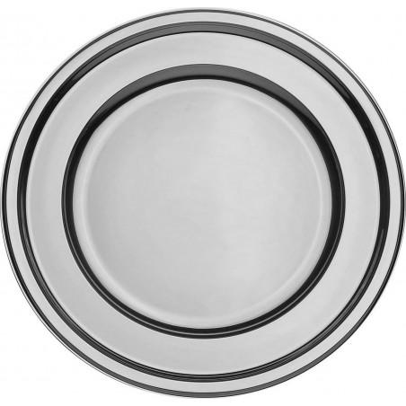 BaixoPrato Plastico Redondo Prata 30 cm (50 Uds)