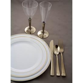 Prato Plástico Rigido Bordo Ouro 23cm (90 Uds)