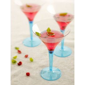Copo Plastico Cocktail Pé Turquesa 100ml (48 Uds)