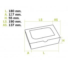 Caixa de Cartão Kraft com Janela 18x12,7x5,5cm 1000ml (175 Uds)