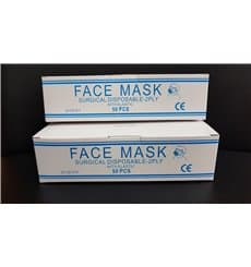 Máscara Retangular com Elástico TNT Branco 2D (50 Uds)