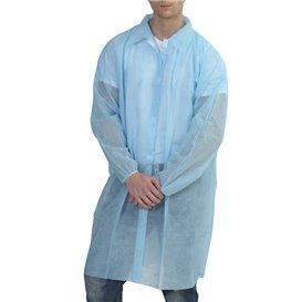 Bata Visita TST PP com Velcro e Sem Bolsos Azul (10 Uds)
