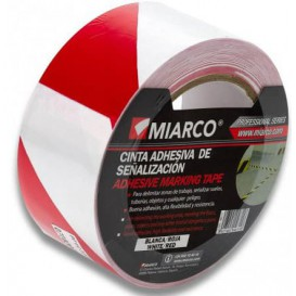 Fita Adesiva Sinalização 5cmX33m Branco/Vermelho (36 Uds)