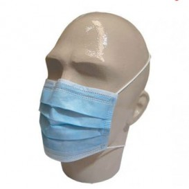 Máscara Retangular com Elástico TNT Azul 3D (50 Uds)