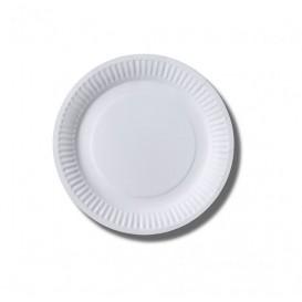 Prato de Papel Biocoated Branco Ø18 cm (100 Uds)